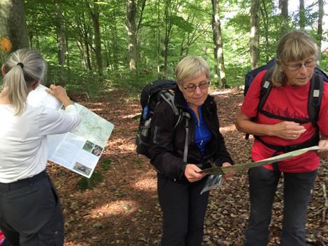 Trots välmarkerad vandringsled är det viktigt kolla kartan, som här görs av Margaretha, Eva och Conni, Foto: Jan-Erik Mattsson.