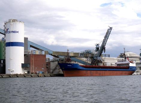 M/V Amirante är en av flera fartyg som gästar Landskrona hamn i veckan.