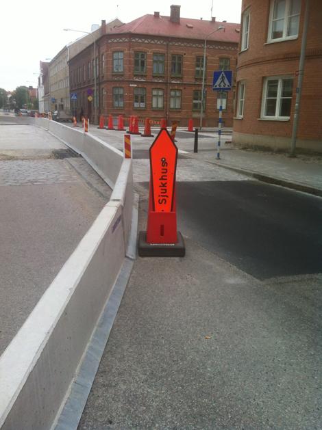 Just nu kan man inte ta av från Föreningsgatan mot Regeringsgatan.  Foto: Sune Karlsson.