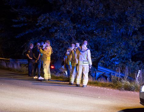 Bilen mejade ner sidoräcket och slutade sin våldsamma framfart i diket. Foto: André Tajti / at-foto.se
