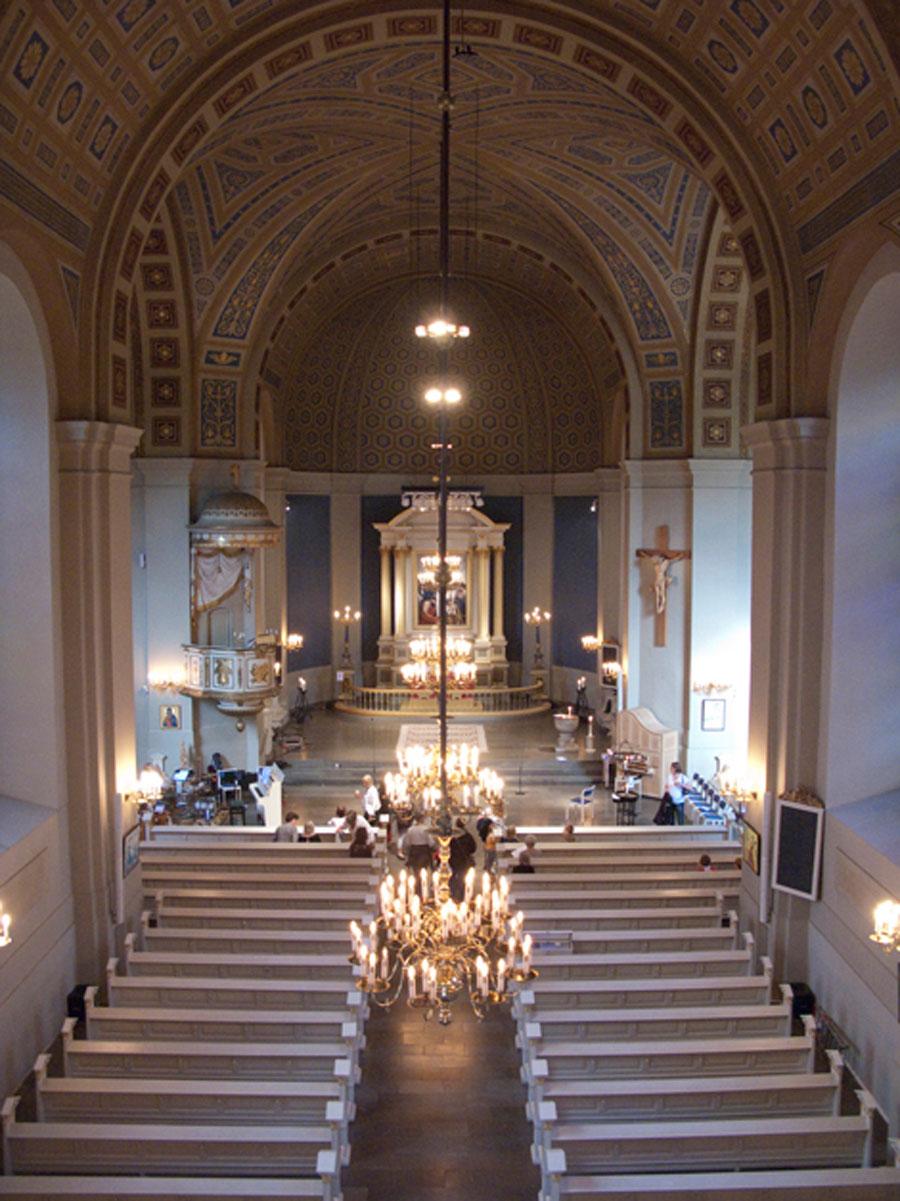 Sofia Albertina kyrka kommer under 2016 att genomgå en omfattande renovering. Finalgudstjänsten blir en musikgudstjänst på Trettondag jul. Foto: Hjördis Thelander.