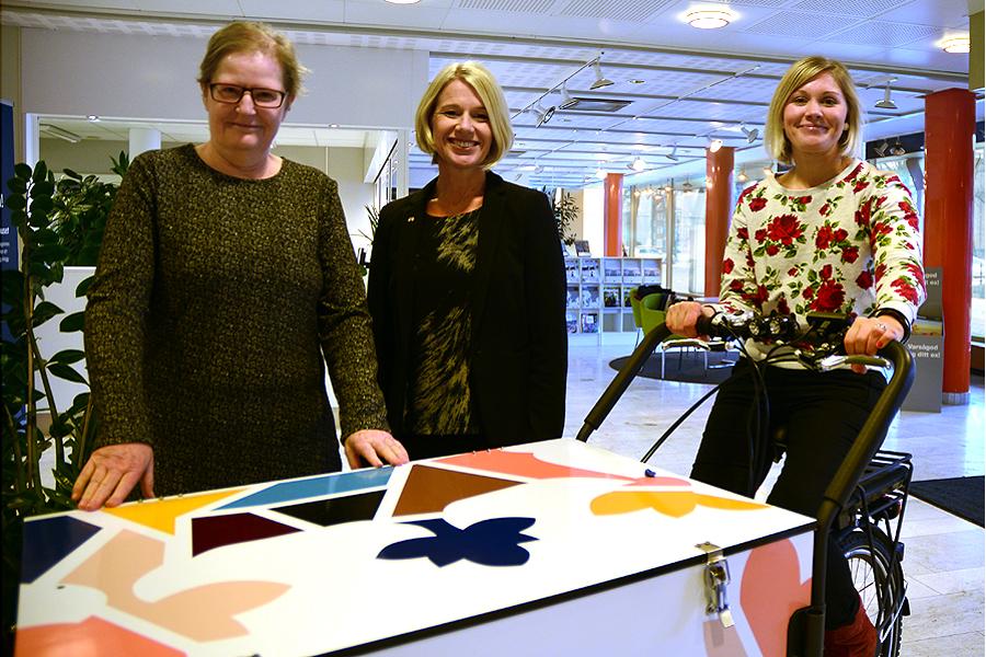 Museichef Elisabeth Arvidsson, tillväxt- och näringslivschef Anna Classon samt Sara Ströberg på turistbyrå