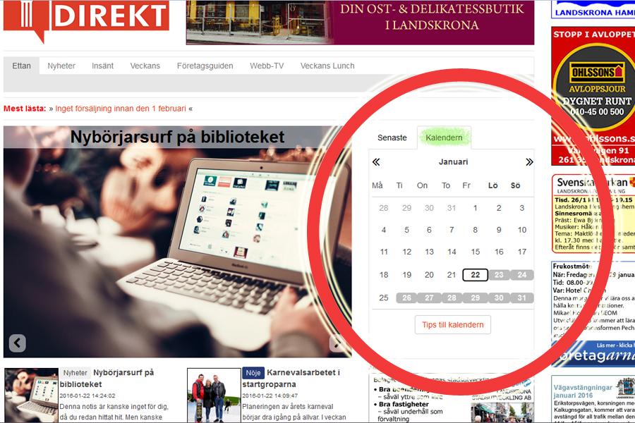 Här hittar du kalendern på Landskrona Direkt