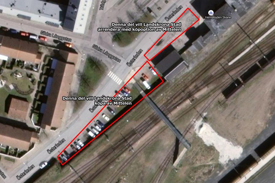 Här är kommunens nästa projekt gällande marköp i centrum. Målet är att köpa loss hela spårområdet intill.