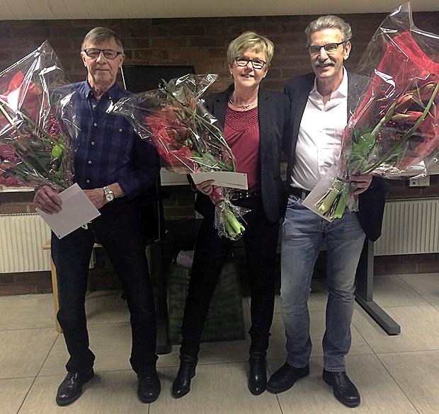 Claes-Bertil Andersson, Birthe Hansson och Anders Daun avtackades för lång och minst sagt trogen tjänst. Foto: Monika Nordengren
