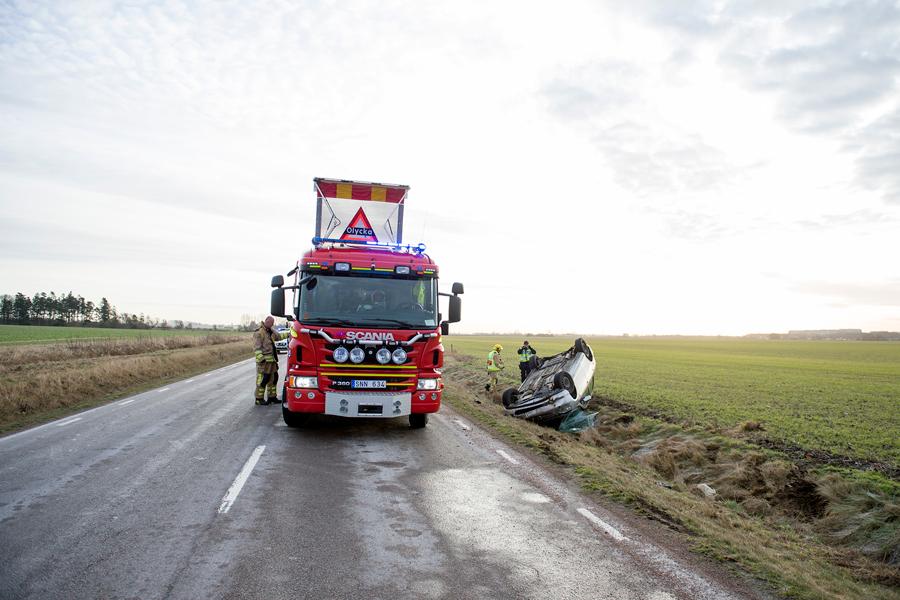 Singel olycka på Tullstorpsvägen. Foto: André Tajti, AT-Foto.se