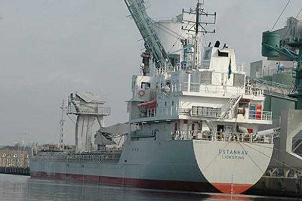På måndagen anlände M/V Östanhav Landskrona hamn för att lossa kalk.