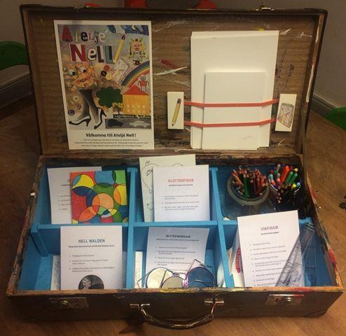 Nytt för i år är att en ny materialväska står framme i Ateljé Nell varje söndag mellan kl. 13.00–16.00. I väskan finns papper, pennor, färg och tips till familjer som vill skapa själva.