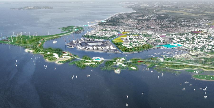 Illustration ur Landskrona stads stadsbyggnadsvision 2063 som byalaget hänvisar till när man hellre ser en utökning av båtplatserna Lundåkrahamnen.