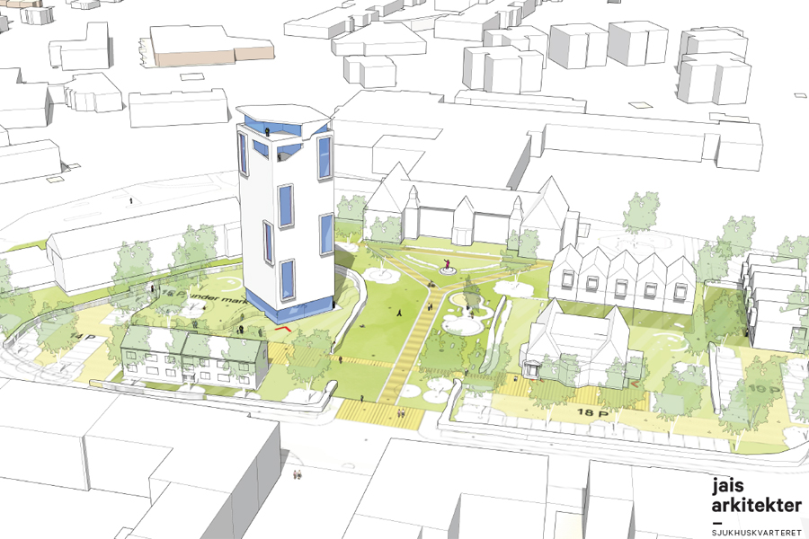 Redan till hösten 2017 kan om allt går som på räls de första spadtaget tas till det planerade 16-våningshuset på Sjukhuskvarteret.  Illustration: Jais arkitekter.