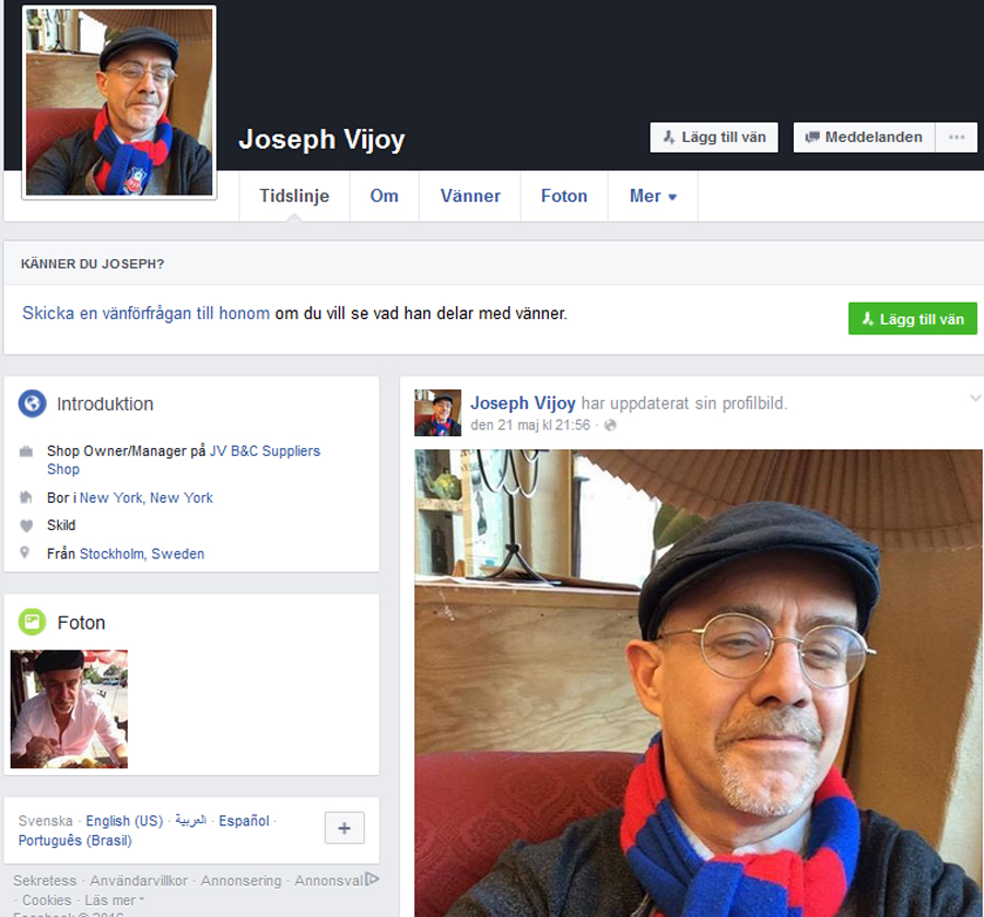 Skärmdump från Facebook på kontot som använder bilder av Måns Back Nilsson.