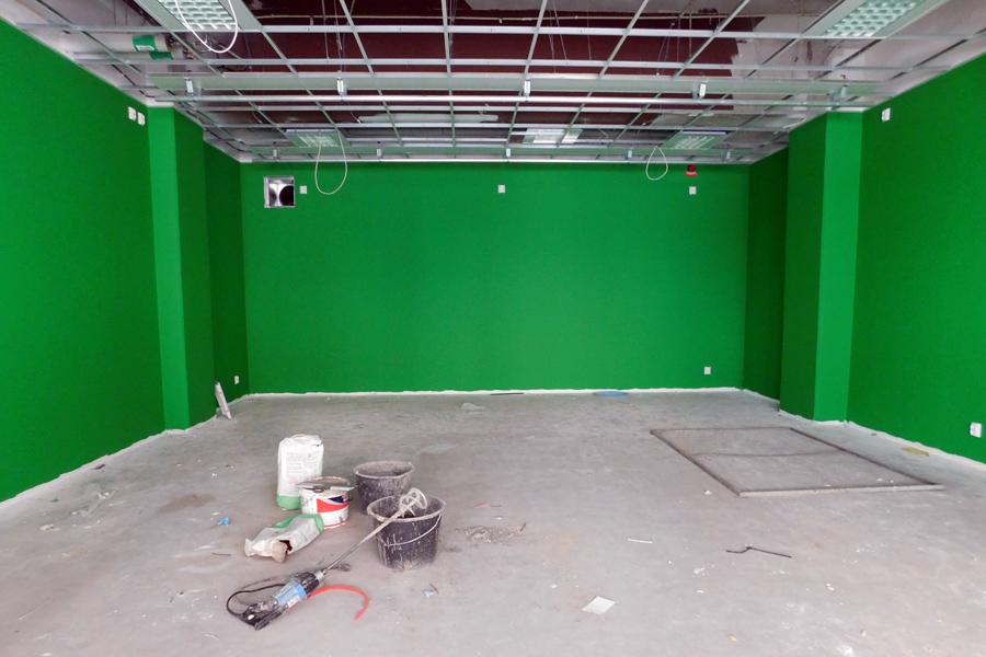 Filmrummet sticker ut med sina gröna väggar. Foto: Natalie Hultgren
