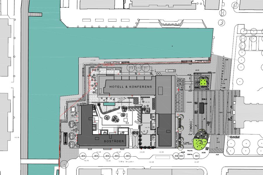 Det nya Hotel Öresund kommer att placeras i L-huset närmst stadshuskajen. Den ljusgrå byggnaden på illustrationen.