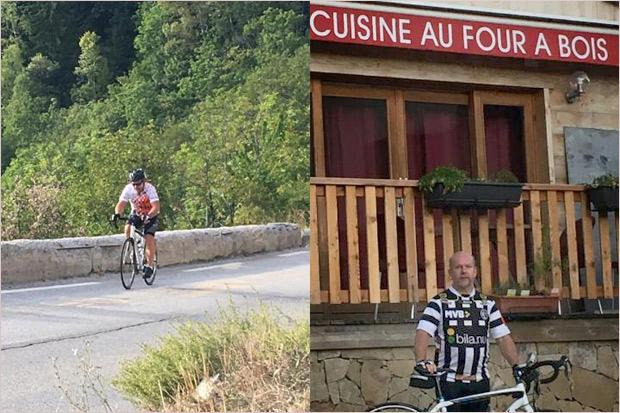 Till vänster kämpar sig Mats Andersen upp för Alpe d`huez och väl uppe till höger iklädde han sig i en BoIS-tröja. – Jag var uppe på toppen och det är där BoIS hör hemma, säger den tappre cyklisten med ett skratt.