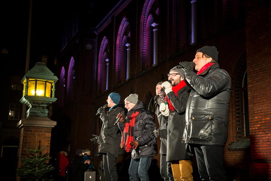 A capella-gruppen Vocal Six avslutade kvällens konsert. Foto: Josefin Larsson.