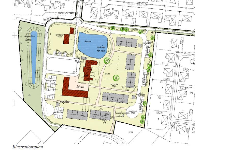 I det som idag bland annat utgör en park samt ett område med sly är det tänkt att de nya husen ska byggas.