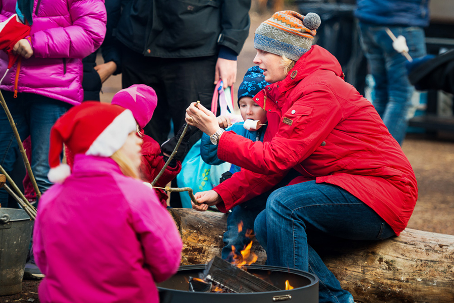Landskrona Scoutkår gjorde upp en eldstad där man kunde sitta och värma sig och grilla marshmallows Foto: Niklas Lydeen.