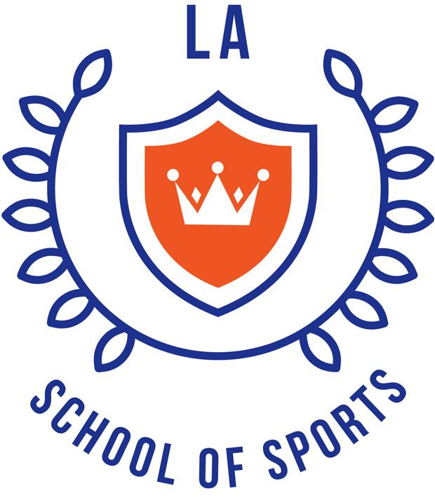 Såhär ser LA School of Sports logotype ut. – Kransen symboliserar kunskap och omfamnande gemenskap medan kronan står som symbol för Landskrona, säger skolans vd Pernilla Anderberg.