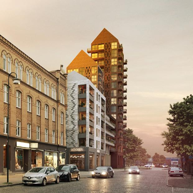 Tanken är att bebyggelsen på kvarteret Jäntan ska varieras. Så här kan det komma att se ut. Montage: Okidoki! arkitekter