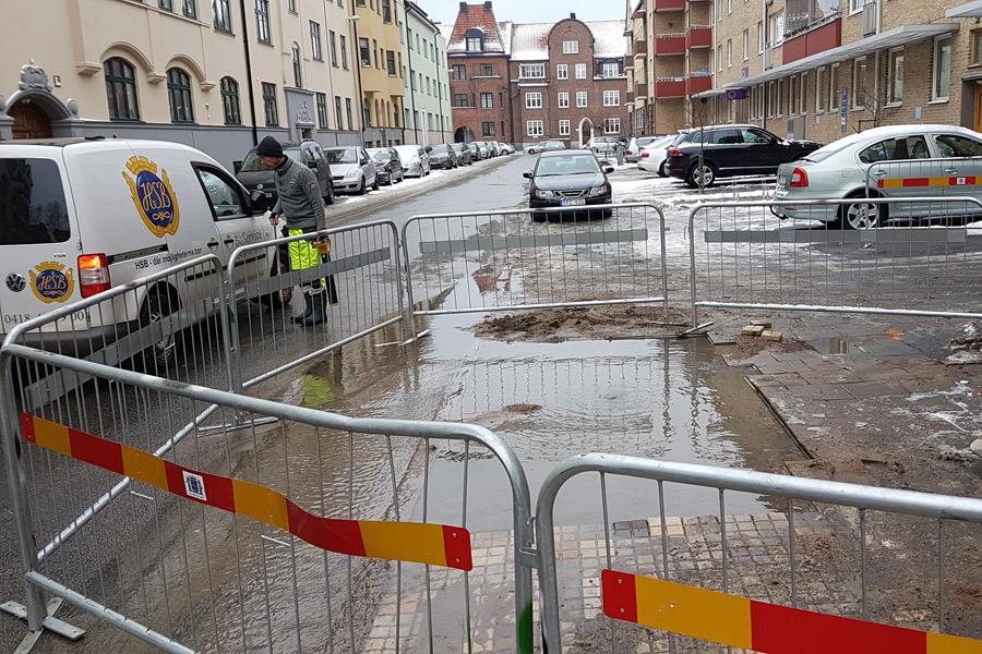 Vattenläcka på Sturegatan