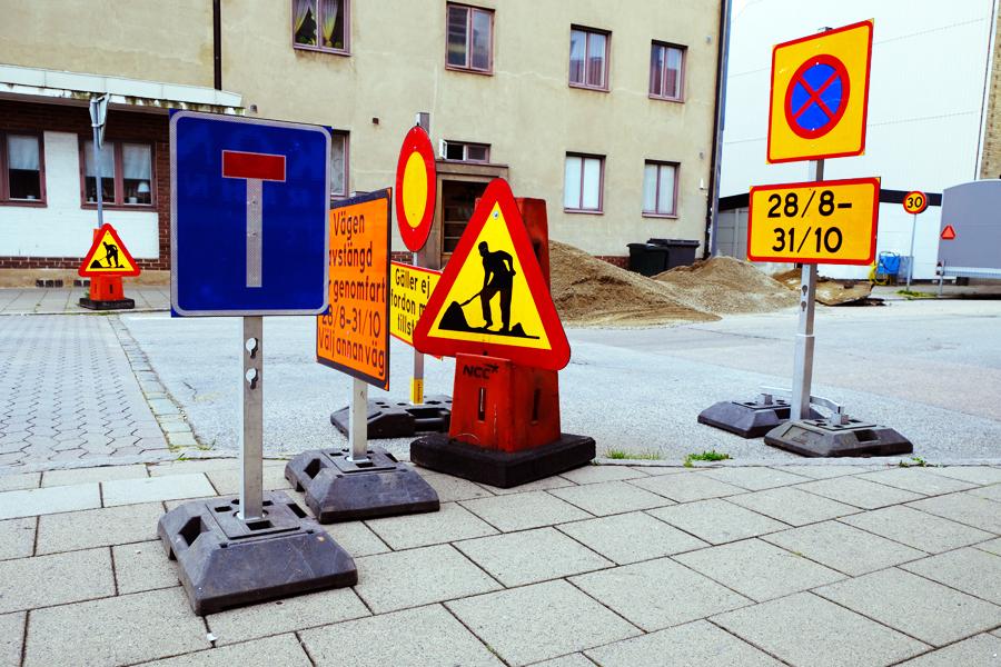 Gatuarbete på Kungsgatan och Södra Långgatan