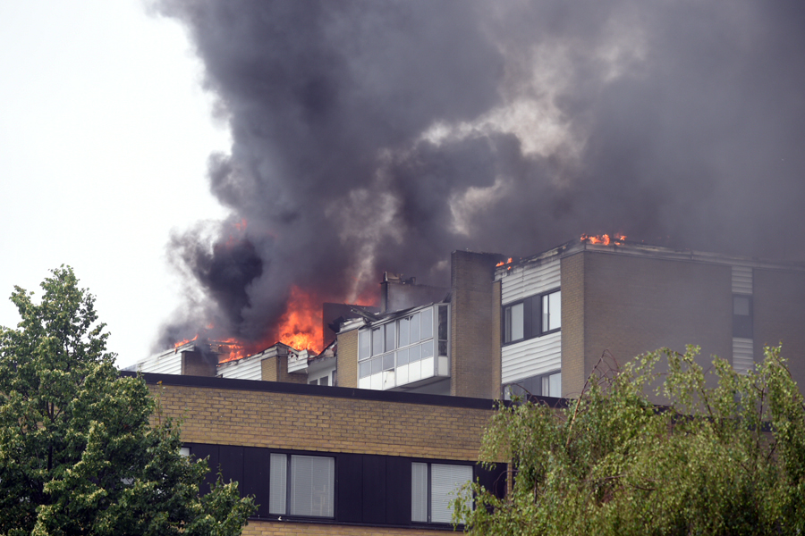 Polisen misstänker att branden var anlagd