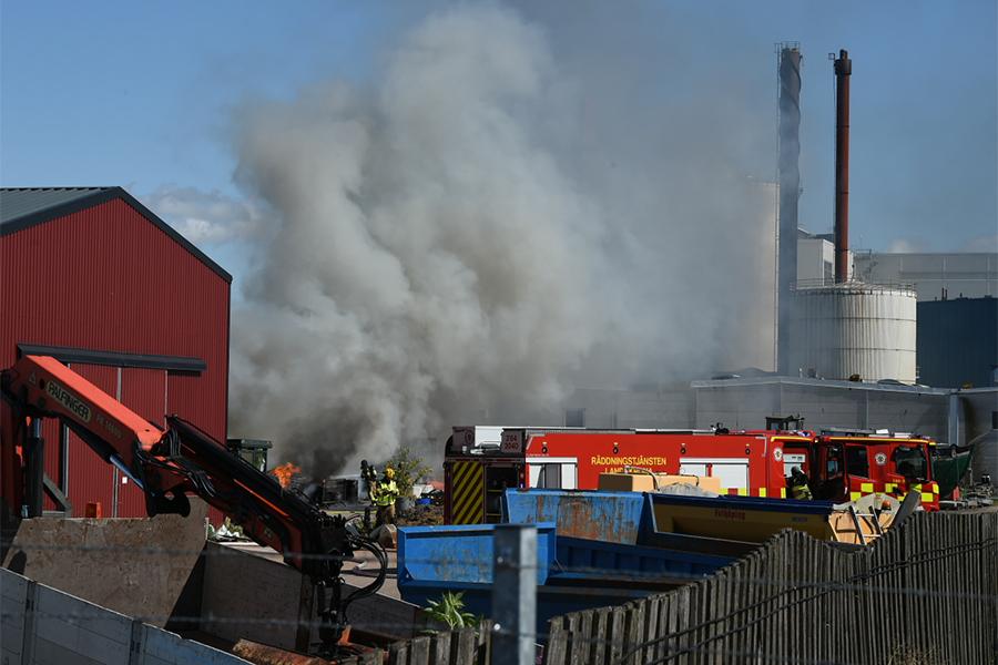 Brand på stadens lager