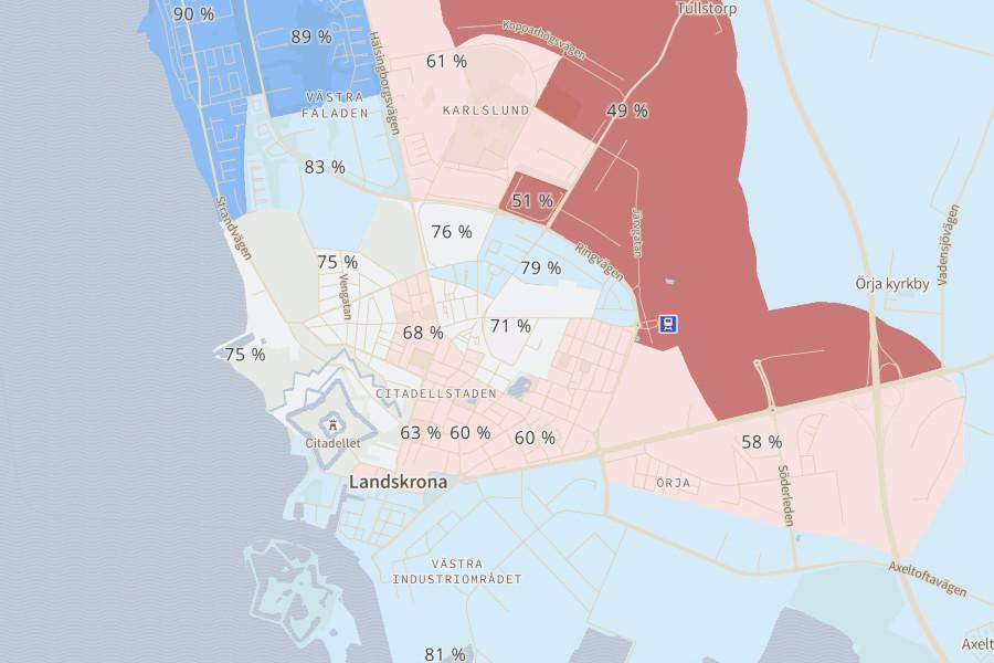 Varannan ovaccinerad i delar av Landskrona